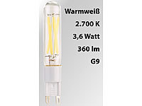Luminea LED-Filament-Stiftsockellampe G9, 3,6 W, 360 lm, warmweiß 2.700 K, A+