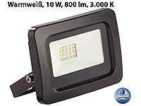 Luminea Wetterfester Mini-LED-Fluter, 10 W, 800 lm, IP65, 3.000 K, warmweiß