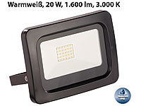 Luminea Wetterfester Mini-LED-Fluter, 20 W, 1.600 lm, IP65, 3.000 K, warmweiß