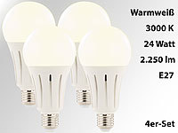 Luminea High-Power-LED-Lampe E27, 24 Watt, 2.250 Lumen, 3000 K, 4er-Set