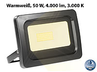 Luminea Wetterfester LED-Fluter, 50 Watt, 4.000 Lumen, IP65, 3.000 K, warmweiß