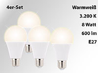 Luminea LED-Lampe, E27, 8 Watt, 600 Lumen, 270°, warmweiß, 4er-Set; LED-Spots GU10 (warmweiß), LED-Tropfen E27 (tageslichtweiß) LED-Spots GU10 (warmweiß), LED-Tropfen E27 (tageslichtweiß)