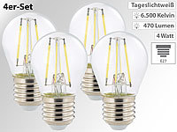 Luminea LED-Filament-Tropfen E27, G45-Form, 470 Lumen, 4 Watt, 360°, 4er-Set