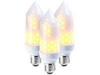 Luminea 3er-Set LED-Flammen-Lampen, realistisches Flackern, E27, 5W, 304lm, A+