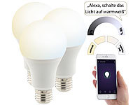 Luminea 3er-Set WLAN-LED-Lampen, Amazon Alexa & Google Assistant komp., E27