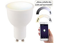 Luminea Home Control WLAN-LED-Lampe, komp. zu Amazon Alexa & Google Assistant, GU10, weiß