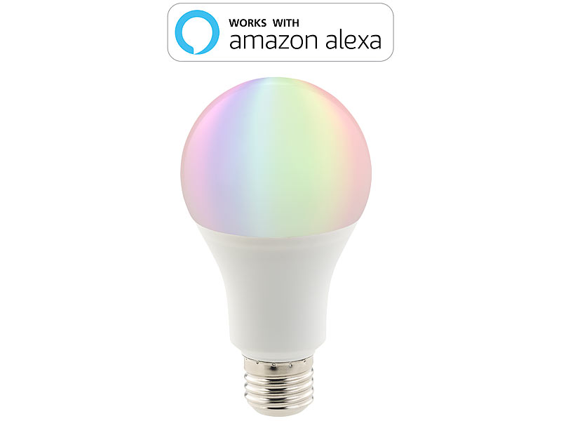 Luminea 3er-Set WLAN-LED-Lampen, Amazon Alexa & Google Assistant ...